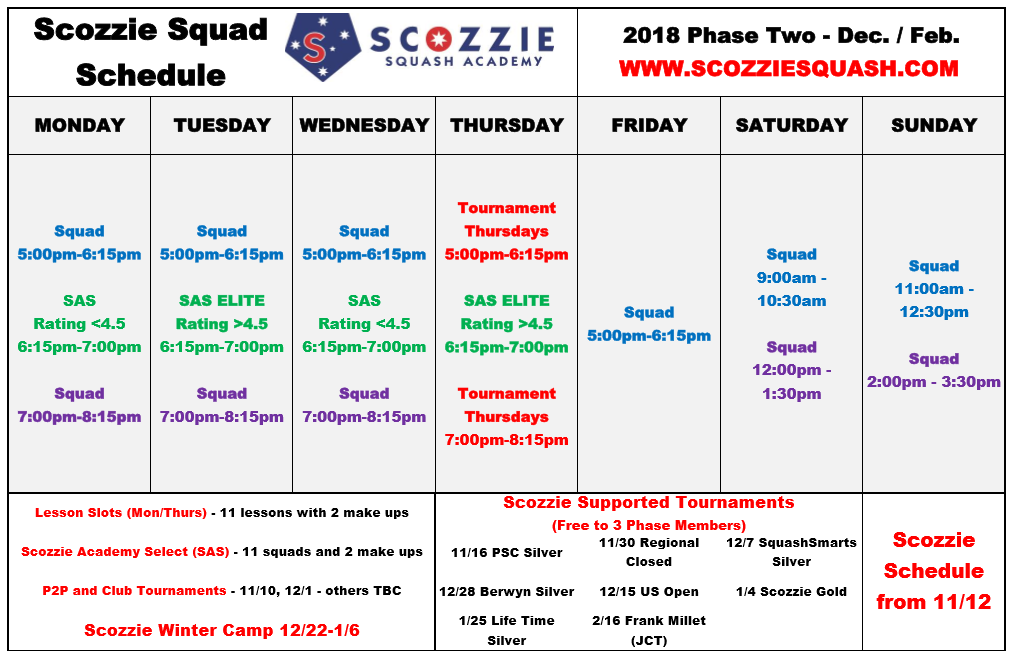 Scozzies Phase 2 Training Schedule Released! Training