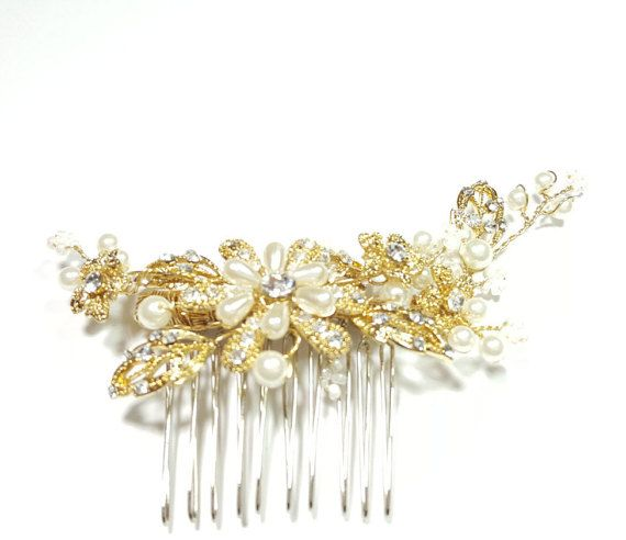 Bridal hair comb Bridal tiara wedding accessories by Asnatjewelry