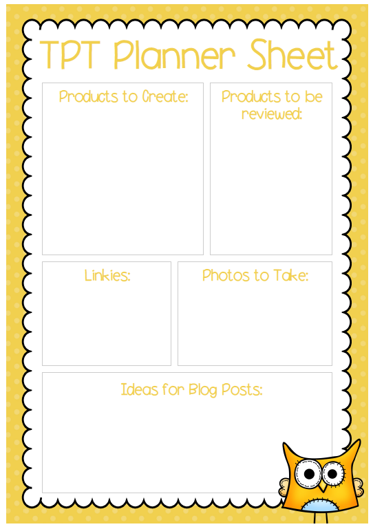TPT planner sheet freebie - use this sheet to plan products to be created or updated as well as link parties and blog posts. Laminate and stick somewhere on your desk to save paper and rub out jobs once complete.