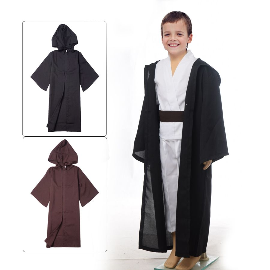 unisexe enfants star wars robe jedi sith enfants noir brun robe capuche cape manteau. Black Bedroom Furniture Sets. Home Design Ideas
