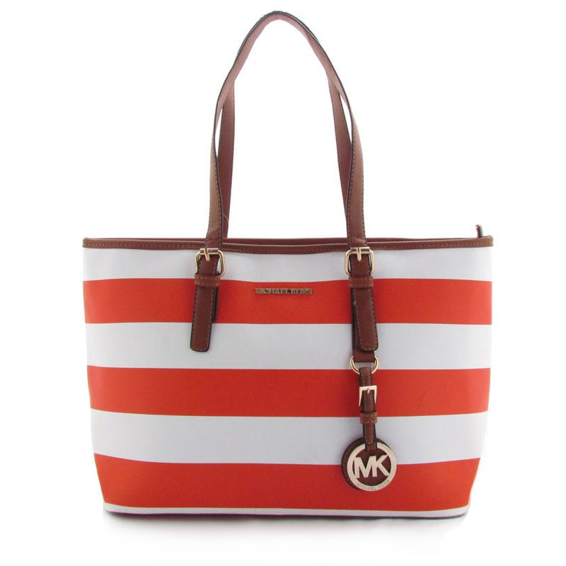 Michael Kors Striped Travel Large Red Totes Outlet