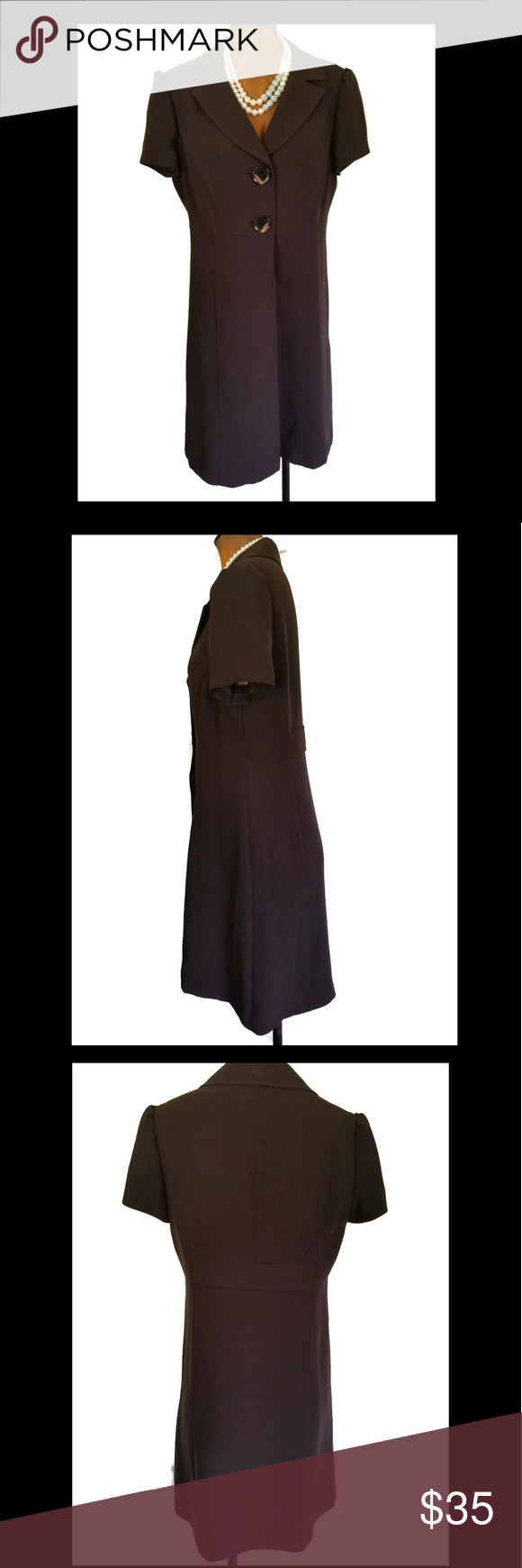 Tahari brown dress size my posh picks pinterest dark brown