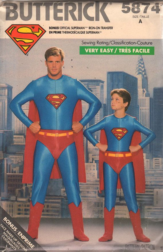 Butterick 5874 Mens SUPERMAN Costume Pattern Very Easy Adult Teen ...