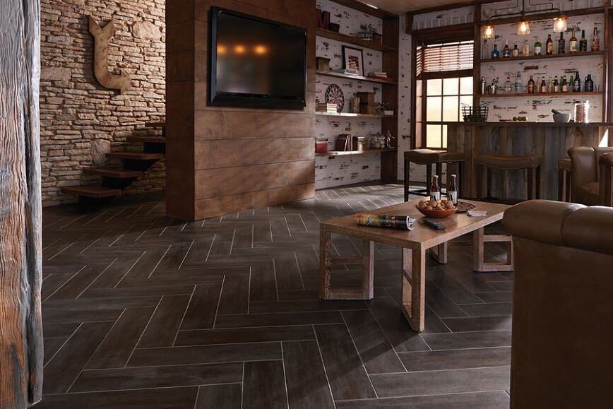 Groutable peelandstick concrete luxury vinyl tile.