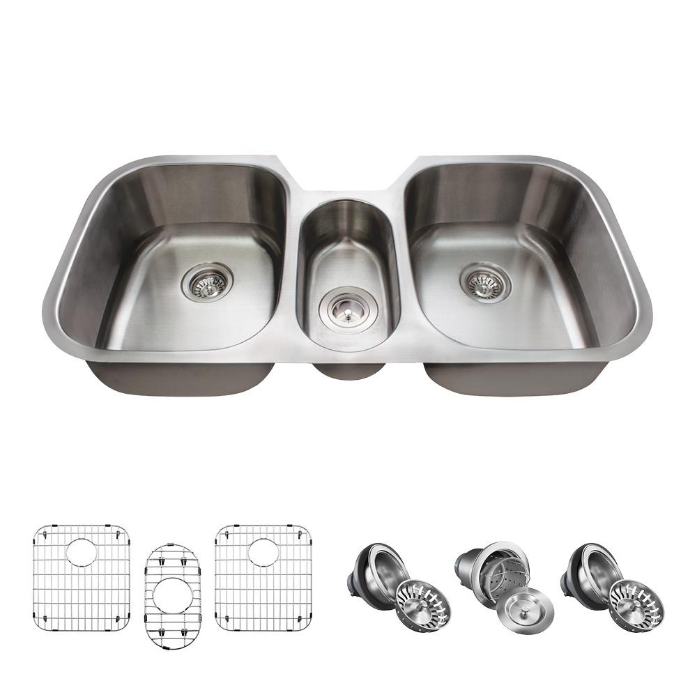 Mr Direct All In One Undermount Stainless Steel 43 In Triple Bowl