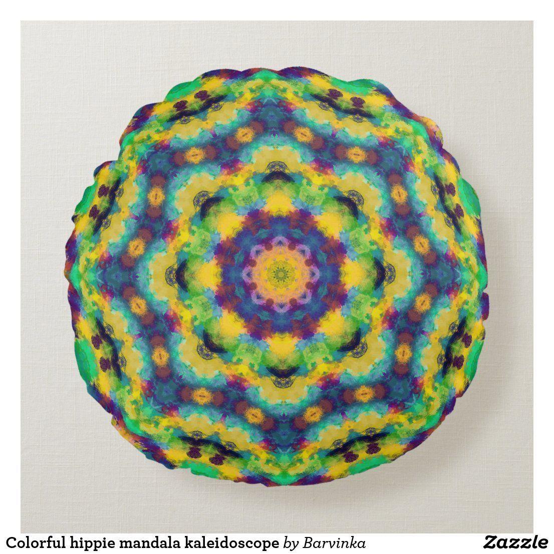 Colorful hippie mandala kaleidoscope round pillow - Gypsy decor | diyhinterhof