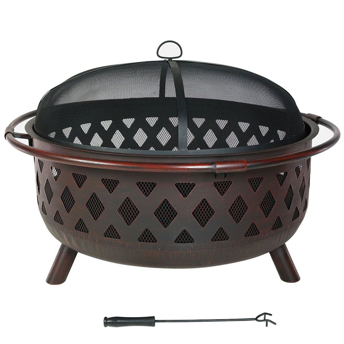 Sunnydaze 36 Inch Crossweave Fire Pit W Spark Screen Metal Fire Pits Large Sunnydaze 36 Inch Large Bronze Cro In 2020 Wood Burning Fire Pit Fire Pit Outdoor Fire Pit
