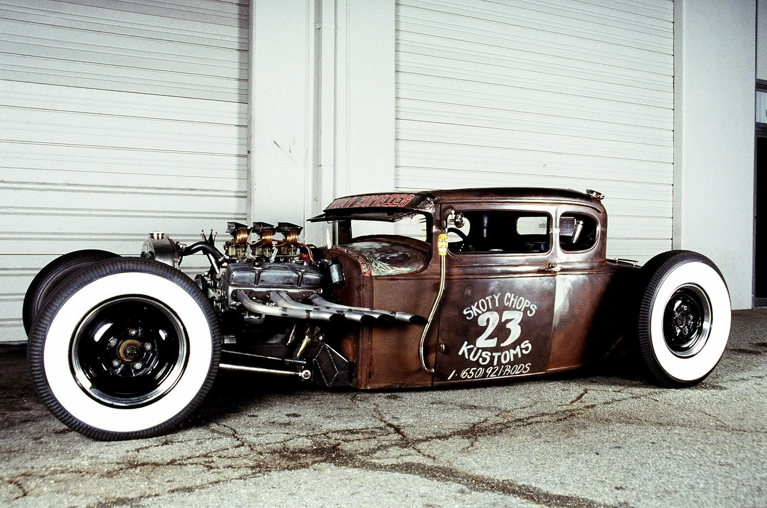 scotty chops rat rod with a suicide shifter on the outside of the car