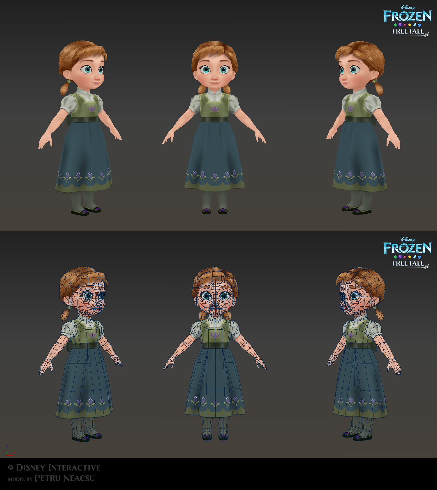 Anna child - Low poly model for Frozen Free Fall by Shaka-zl | Low