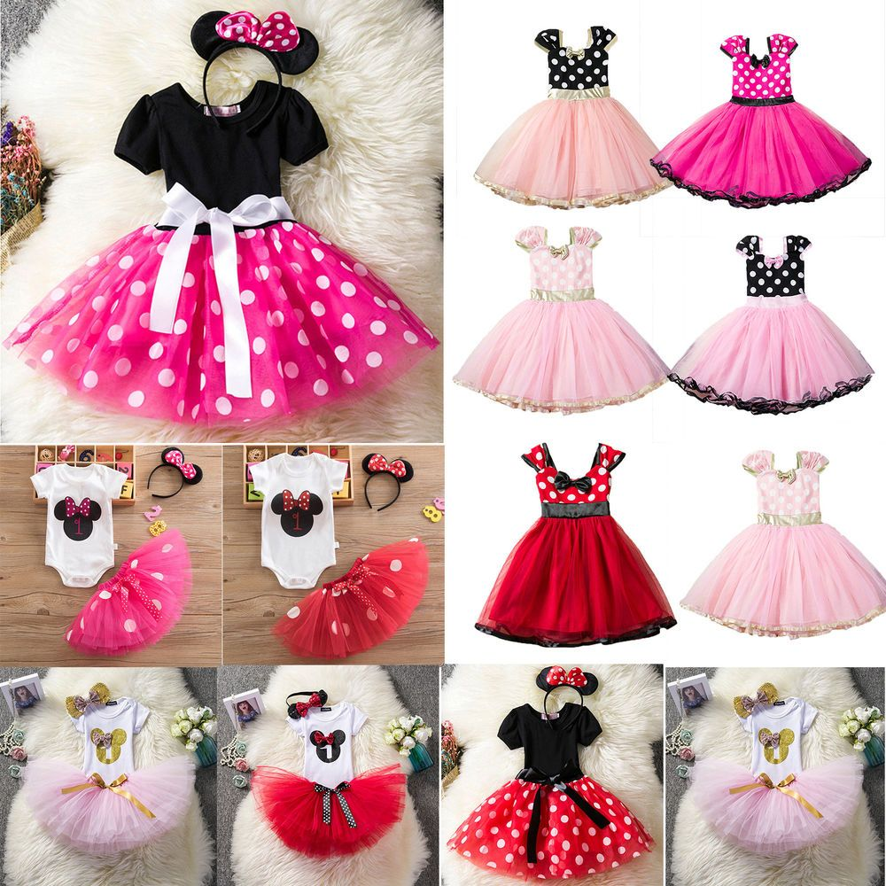 d0c7ff5a7 Toddler Baby Girl Minnie Mouse Bow Dress Tutu Skirt Party Cute Fancy ...