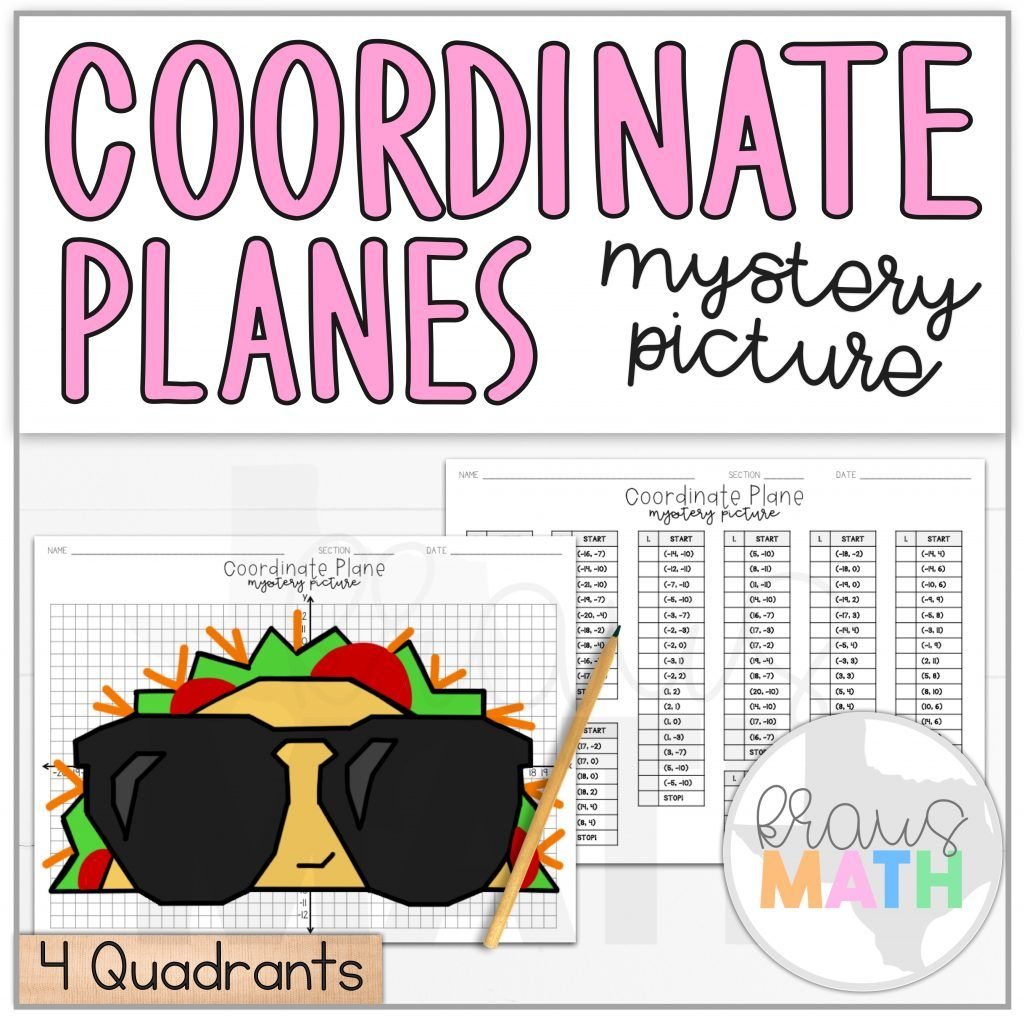 Taco In Sunglasses Coordinate Plane Activity 4 Quadrants