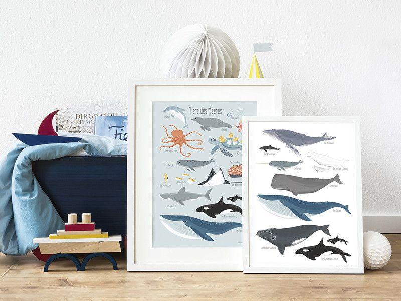Wale, Poster DIN A3 Kinder zimmer, Kinderzimmer
