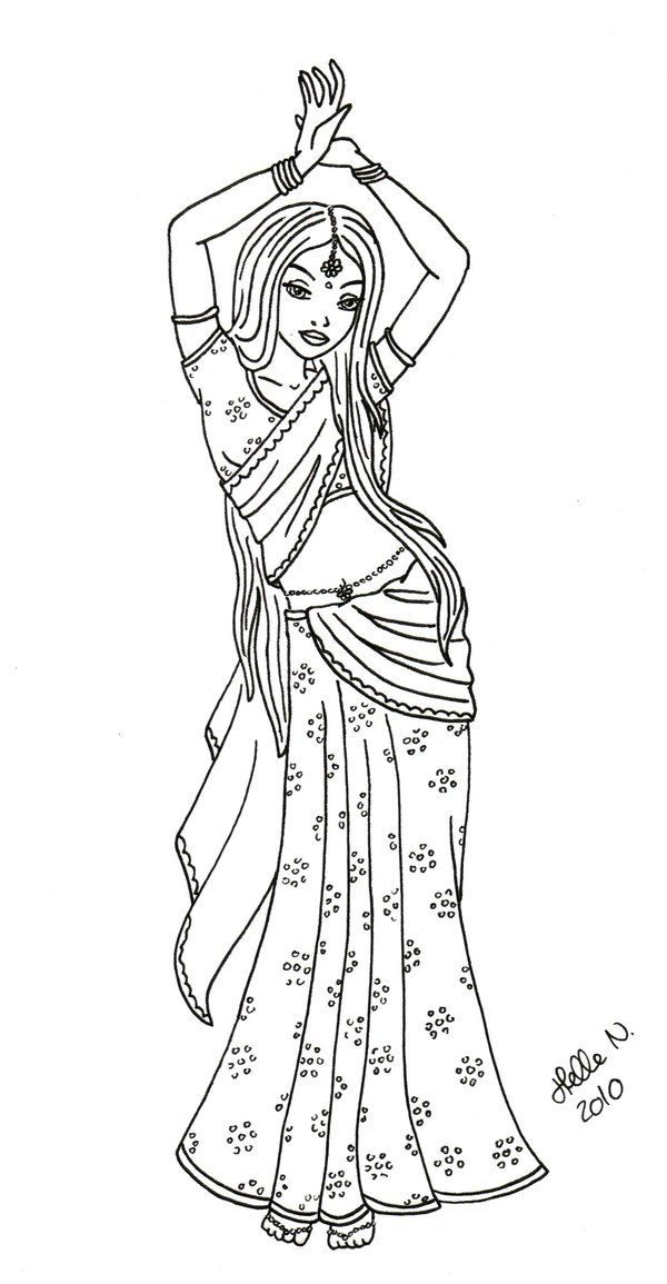 Indian Dancer By Hellenielsen82 Jpg 600 1155 Coloring Pages Coloring Books Dancer