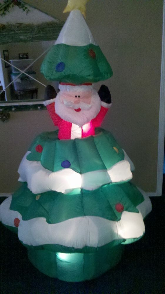 christmas inflatable airblown blow up gemmy santa in a tree animated lighted - Blow Up Christmas Tree