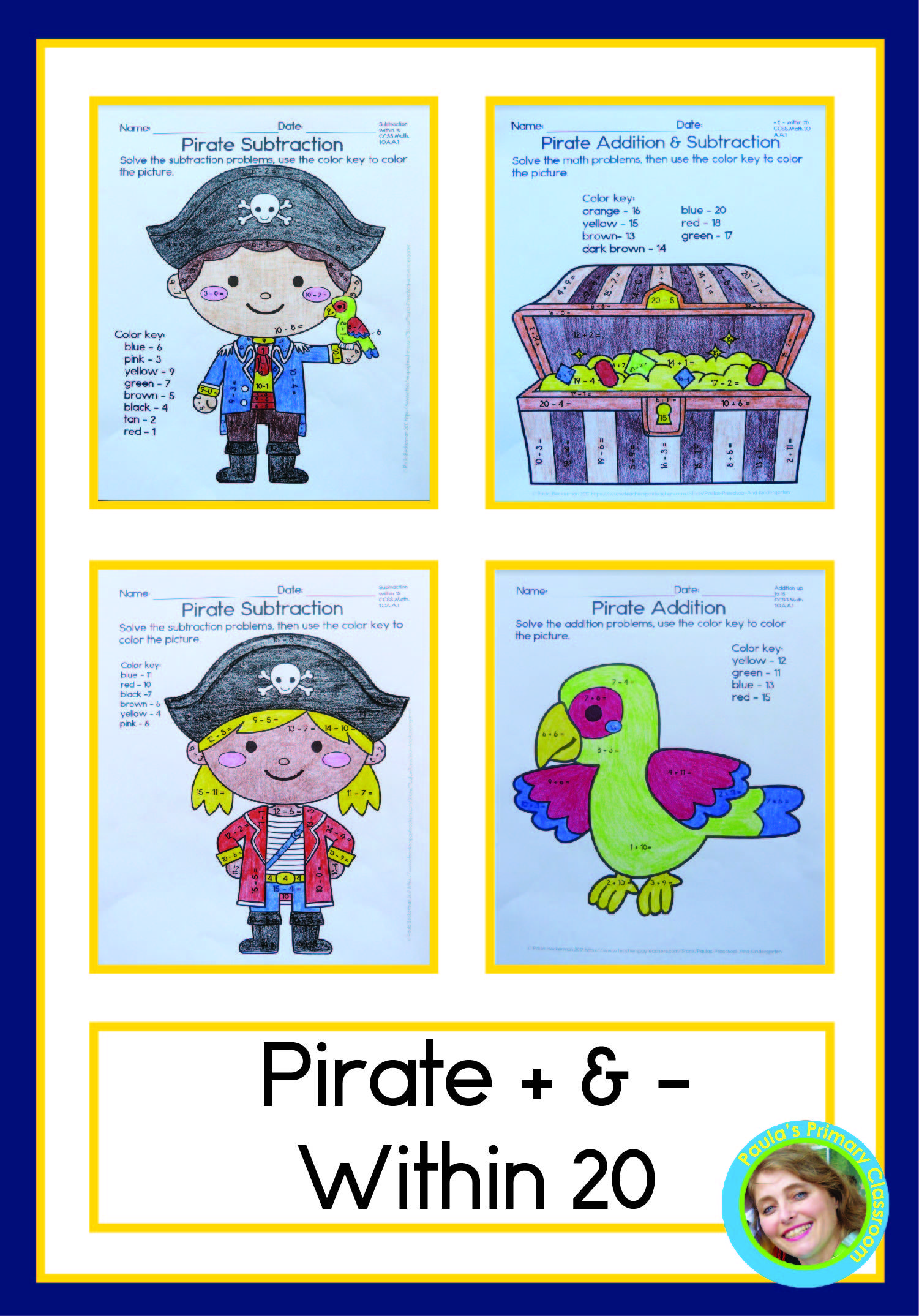 Pirate Addition And Subtraction Within 20 No Prep Worksheets For Math Fac Early Elementary Resources Addition And Subtraction Practice Addition And Subtraction [ 2149 x 1501 Pixel ]