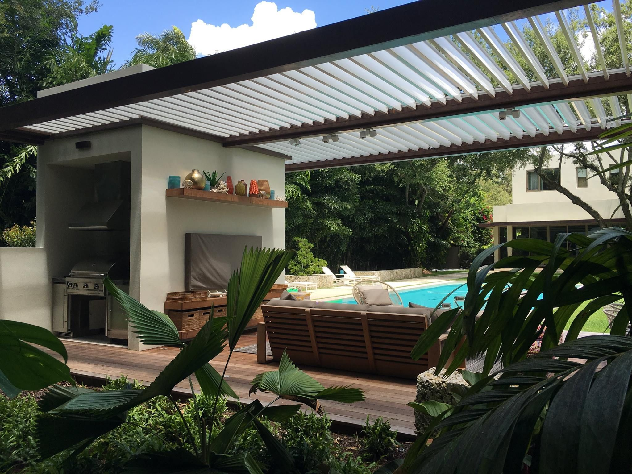 Adore This Outdoor Kitchen Dining And Lounge Area Featuring An Equinox Adjustable Louvered Roof Which Opens For Sun Pergola Plans Roofs Rustic Pergola Pergola