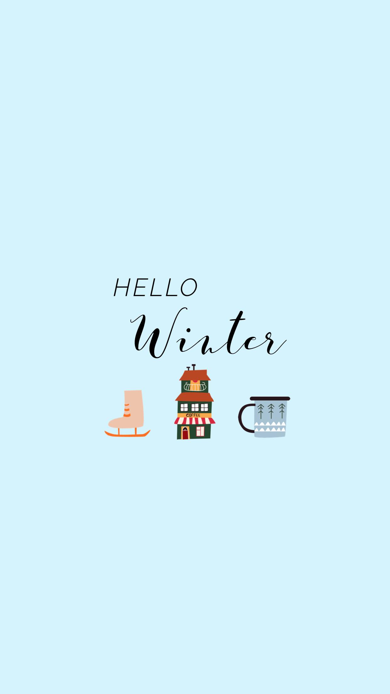 Hello Winter Blue Phone Wallpaper Simple Lynn Meadows Photography Hello Winter Iphone Wallpaper Winter Winter Wallpaper