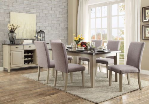 LINDO-7pcs Modern Marble Top Rectangular Dining Room Table Chairs