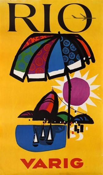 Unknown - Rio - Varig, Circa 1960, poster
