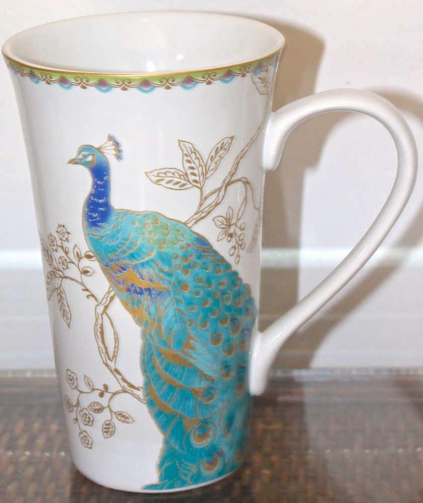 Attractive 222 FIFTH PEACOCK GARDEN LATTEE MUG COFFEE TALL PROCELAIN NEW GOLD  TURQUOISE #222FIFTH