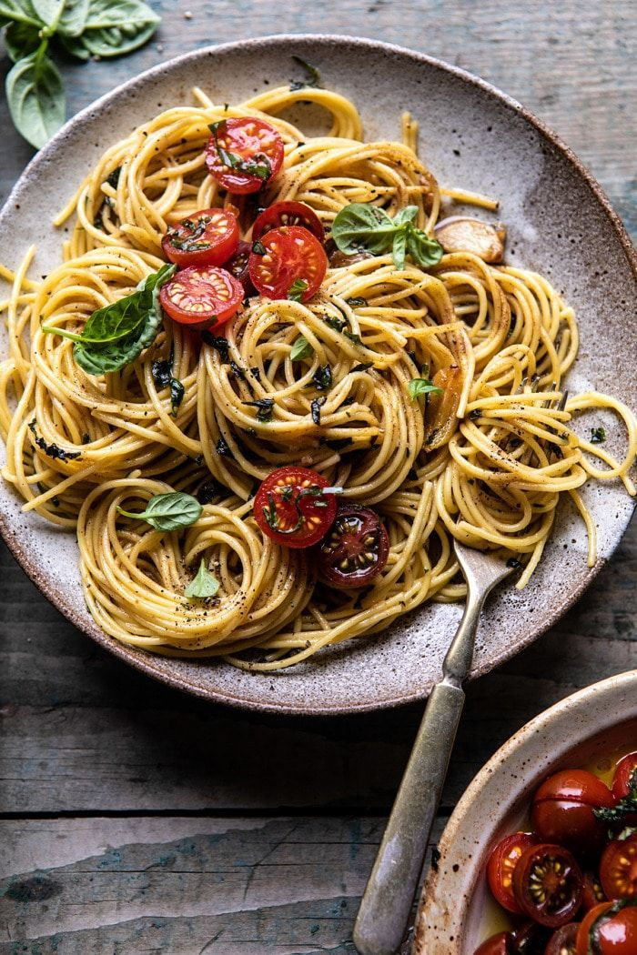 20 Minute Garlic Basil Brown Butter Pasta. - Half