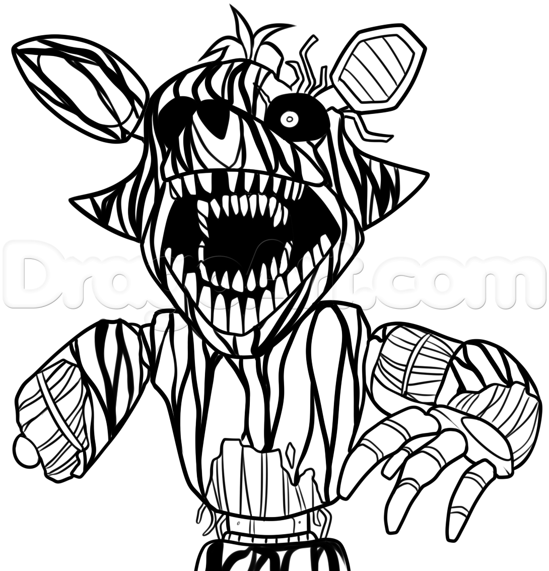 how to draw phantom foxy from five nights at freddys 3