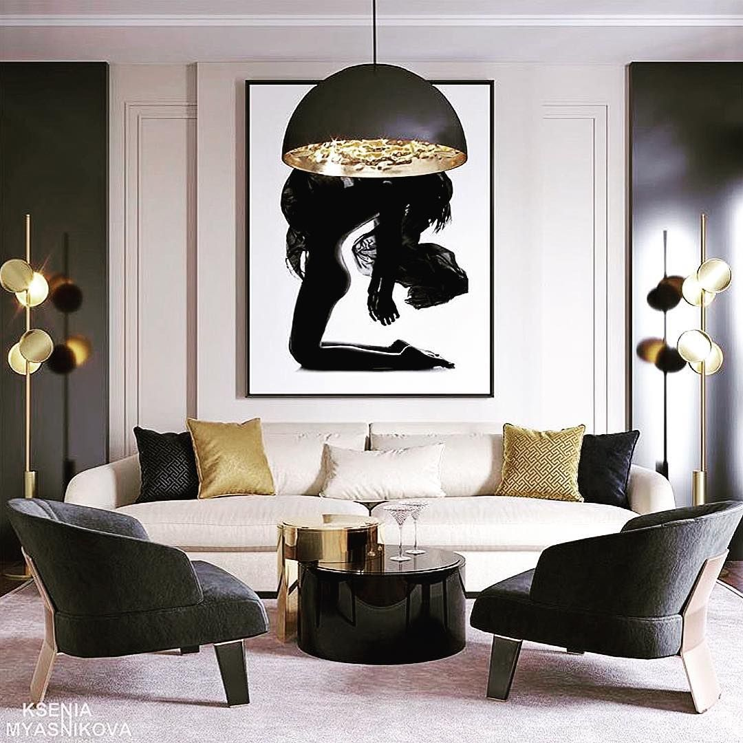 John Roman On Instagram Black Gold Kseniamyasnikova Via Designandabout Art Arc Classic Living Room Gold Living Room Black And Gold Living Room