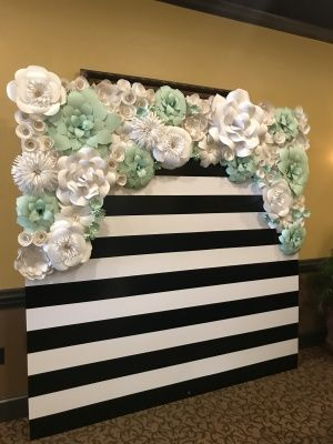 kate spade inspired striped wall baby shower backdrop bridal