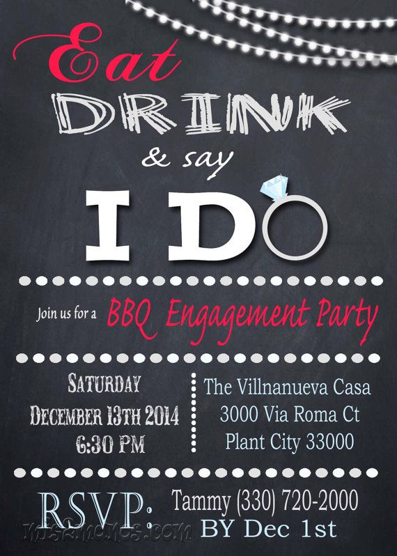 I Do BBQ Engagement Party or Bridal Shower Eat, Drink, and say I Do! by M2MPartyDesigns