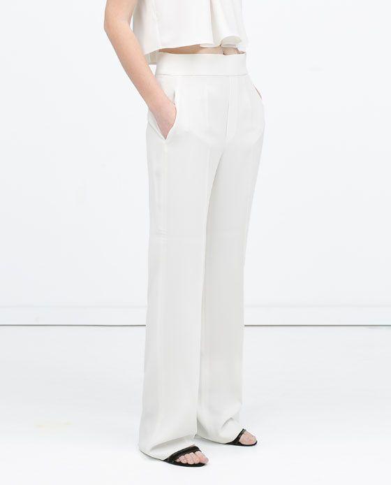 84a6332a6bf0 HIGH WAIST LOOSE TROUSERS. HIGH WAIST LOOSE TROUSERS White Trousers