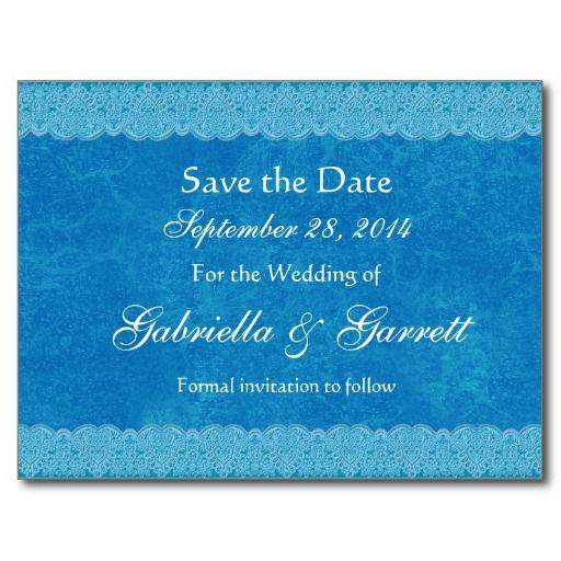 Turquoise and Cobalt Blue Lace Save Date Wedding 6 Postcard