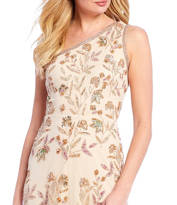 Dillards Wedding Gifts: Beaded Floral One Shoulder A-Line Gown