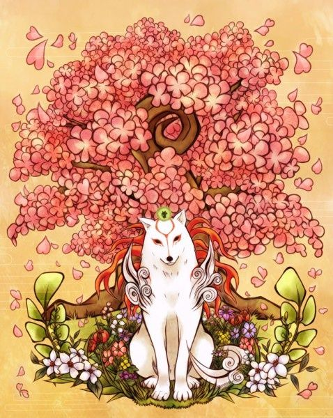 Beautiful Pic Drawing Of Wolf In Front Of My Fav A Cherry Blossom