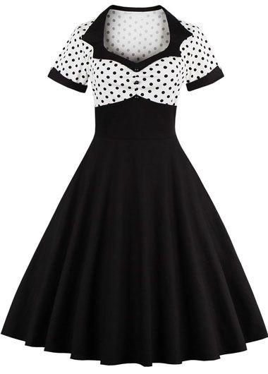 30.15$  Buy here - http://dihlv.justgood.pw/go.php?t=165745 - High Waist Dot Print Black A Line Dress