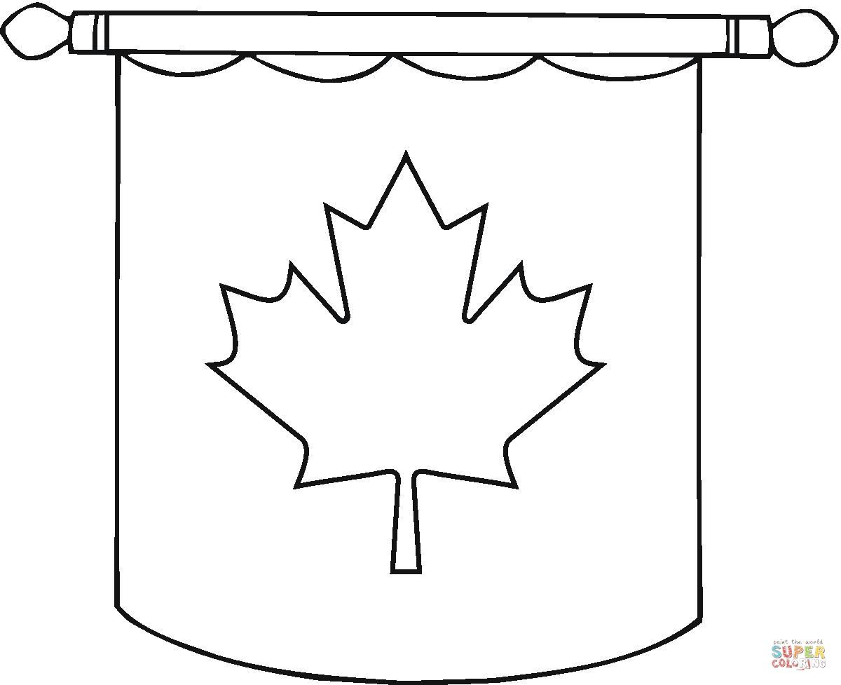 Nice Hanging Canadian Flag Coloring Page