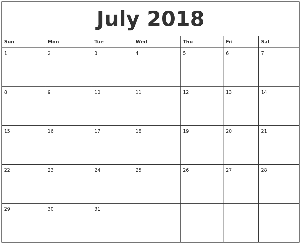 15 best 2018 calenddar images on pinterest calendar 2017 august july 2018 calendar template blank pronofoot35fo Image collections
