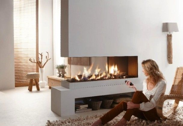 Contemporary Dual Aspect Fireplace of Contemporary Modern Minimalist