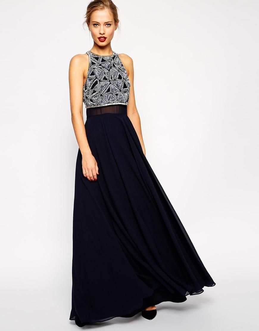 Asos Asos Maxi Dress With Embellished Crop Top At Asos Long