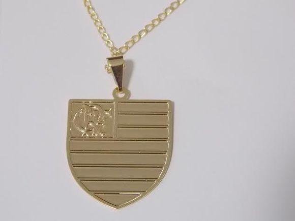 444e7f93cfdab Corrente e pingente banhados em ouro 18k do Flamengo. 45 cm - pingente 2,50  cm. Linda Peça R  39,99