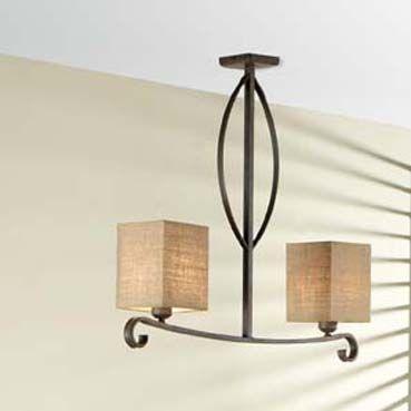 Lámpara de forja Amanda 2 luces, se puede cambiar el color de la
