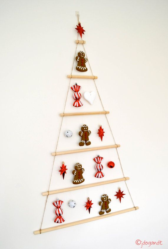 Wooden Christmas Tree Hanging Dowel Mobile Wall Decorations Natural