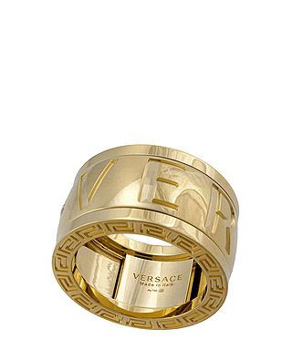 Versace Engraved Diamond Logo Ring In Gold Designer Jewellery Secret