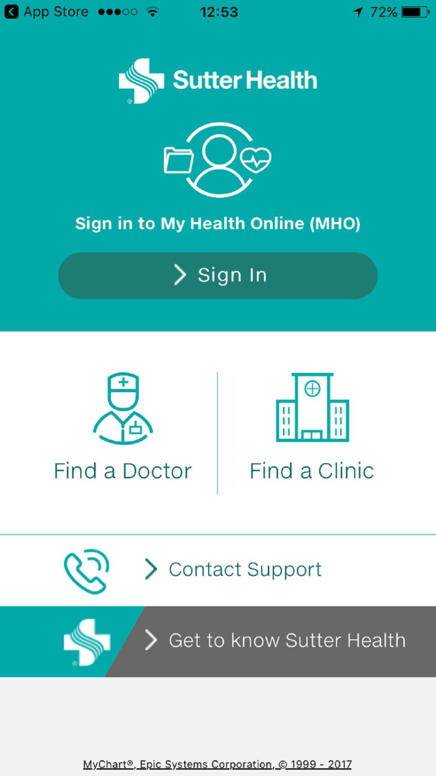Sutter Health My Health Online iosappsappMedical