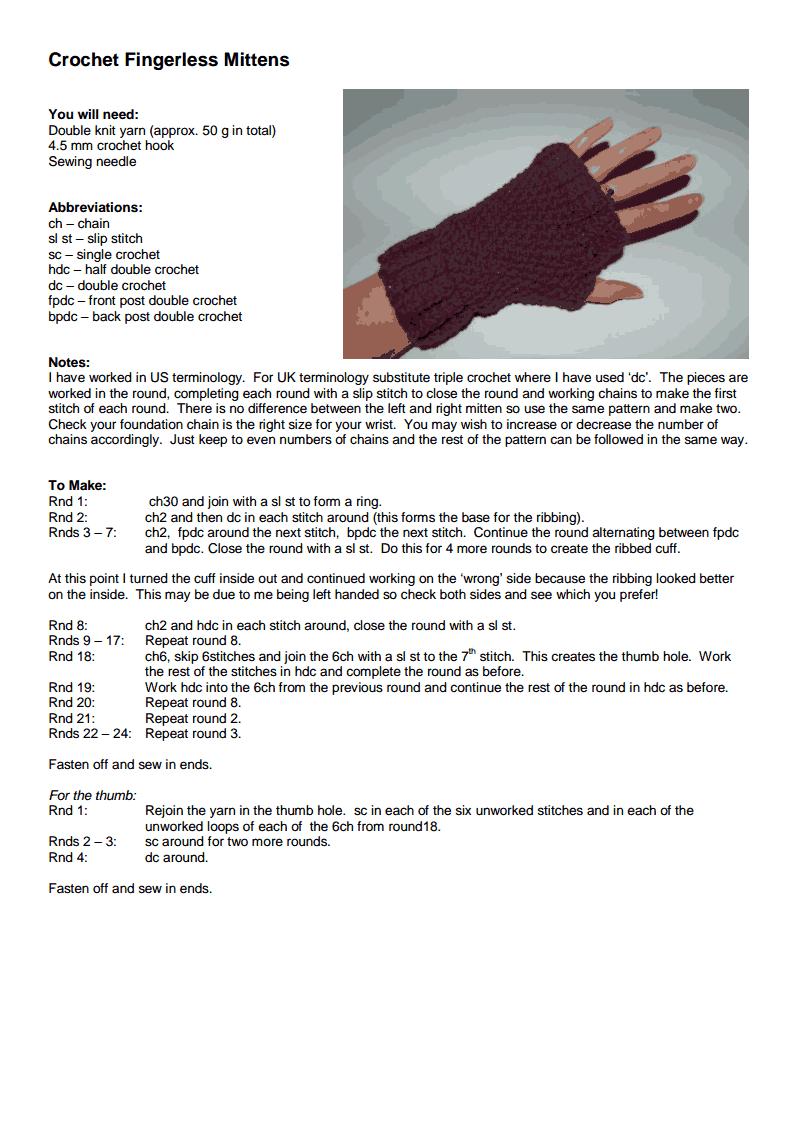 Crochet Fingerless Mittens pdf - Google Drive | knitting and