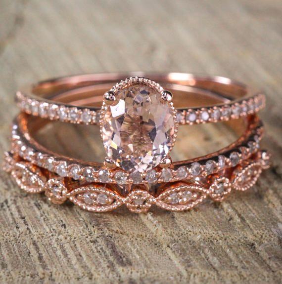 2 Carat Antique Milgrain Oval Shape Morganite Diamond Trio Ring Set In 10k Rose