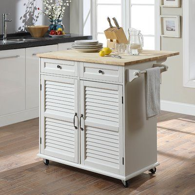 Highland Dunes Ottery Kitchen Cart with Solid Wood | White ...