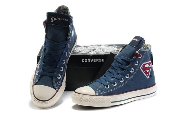 6a74f10d344 Blue High Tops Converse Superman Chuck Taylor All Star Canvas Shoes ...