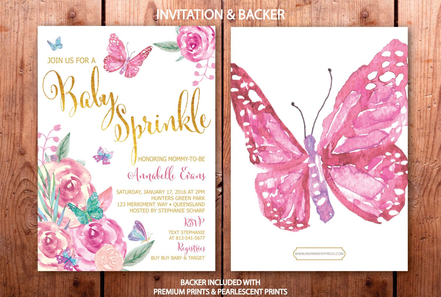 Butterfly Baby Sprinkle Invitation Butterflies Invitation Baby