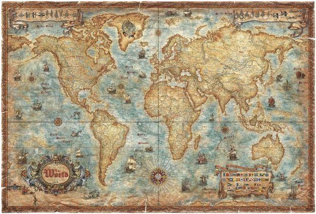 Modern World Antique Map - Fototapeter \ Tapeter - Photowall - new antique world map images