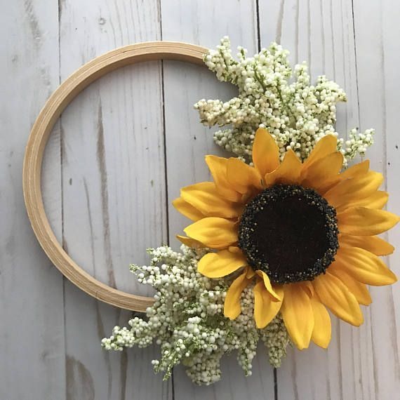 Photo of Items similar to autumn wreath, floral wreath, sunflower wreath, mini wreath, sunflowers, gallery wall, embroidery hoop, photo prop, autumn flowers, silk flowers on Etsy
